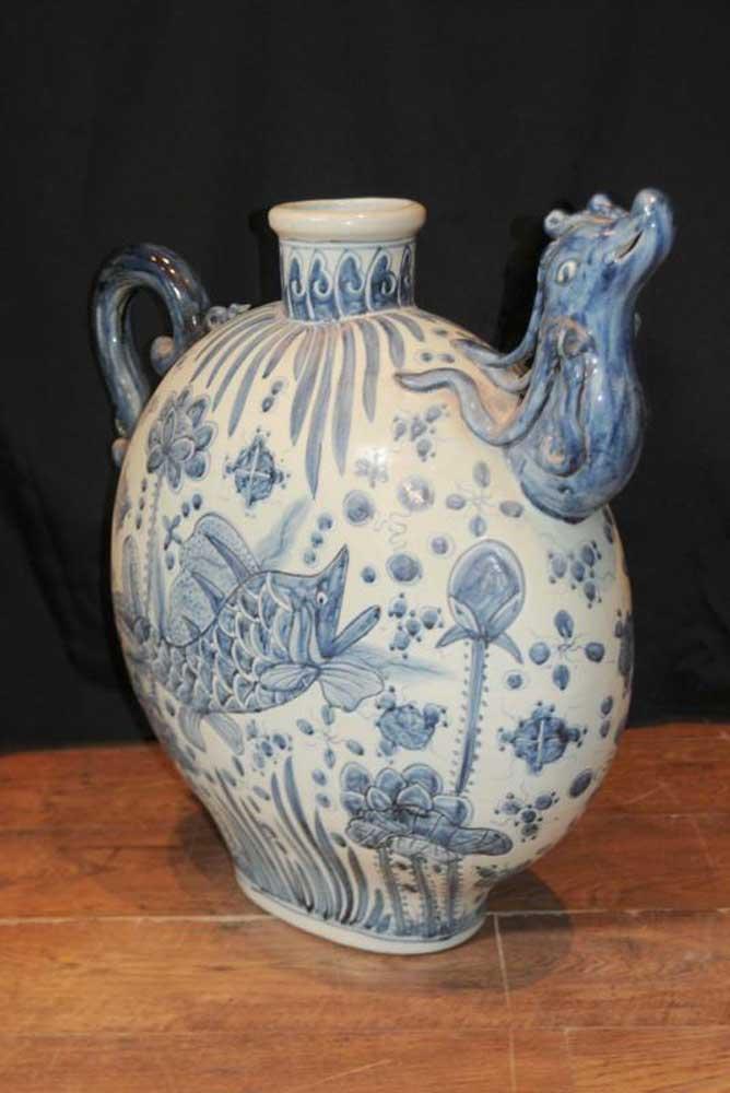 Nanking Porcelain Chinese Pottery Jug Urn Medallion Vase