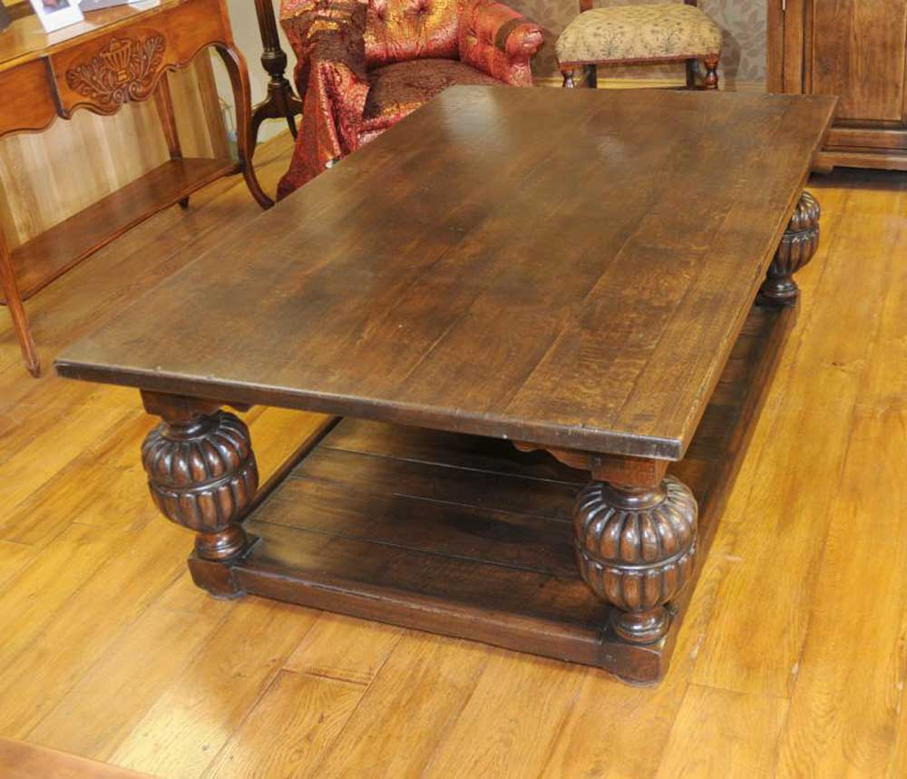Oak Cannon Ball Coffee Table Refectory