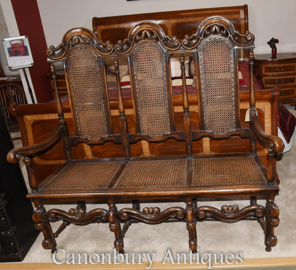 Oak Charles II Settle Chair Three Seat Arm Chair Sofa