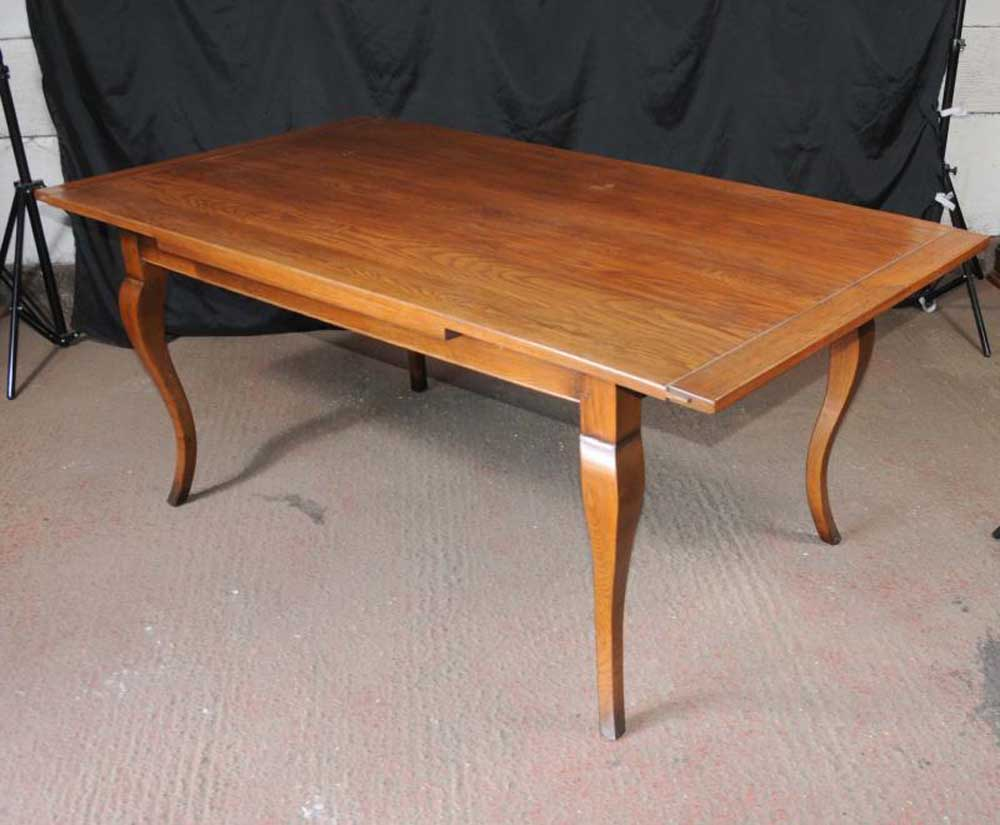 Oak draw leaf kitchen dining table farmhouse for Oak kitchen table with leaf