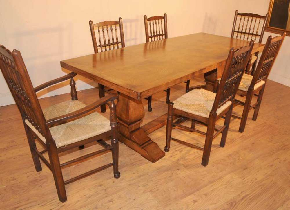 oak farmhouse refectory table kitchen dining tables rustic furniture. Black Bedroom Furniture Sets. Home Design Ideas