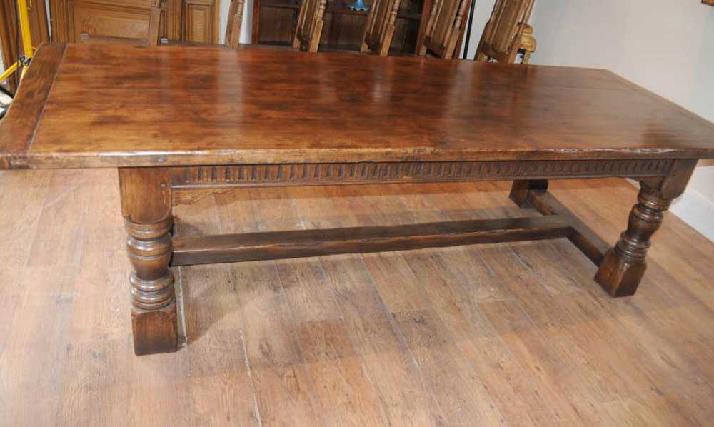 Oak farmhouse refectory table kitchen furniture 9ft for Oak farmhouse kitchen table and chairs