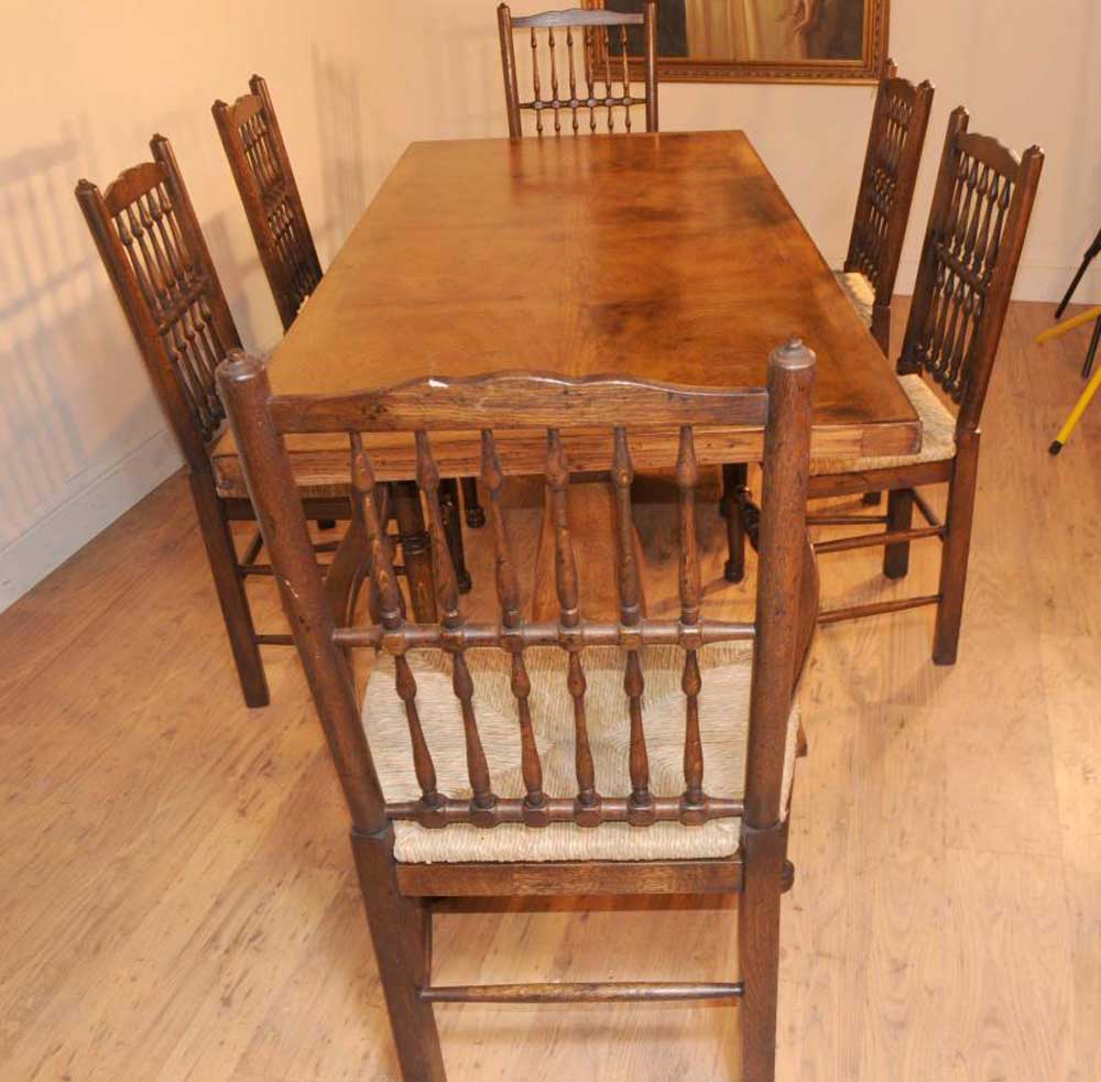 Oak Kitchen Table Chairs: Oak Kitchen Diner Chair Set Refectory Table And