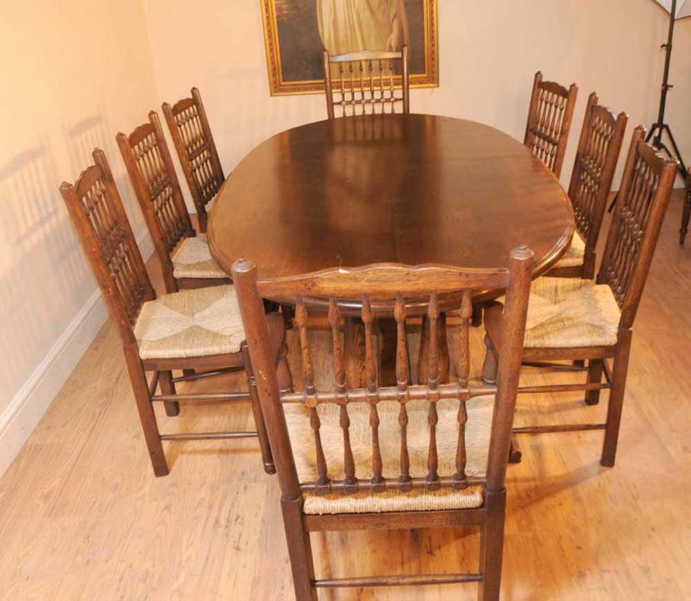 Oak Kitchen Table: Oak Kitchen Refectory Table Dining Set Spindleback Chairs