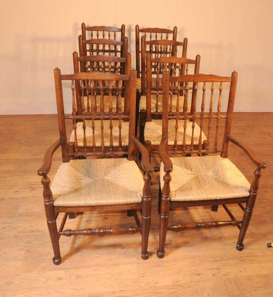 Oak Kitchen Table Set: Oak Kitchen Refectory Table Dining Set Spindleback Chairs