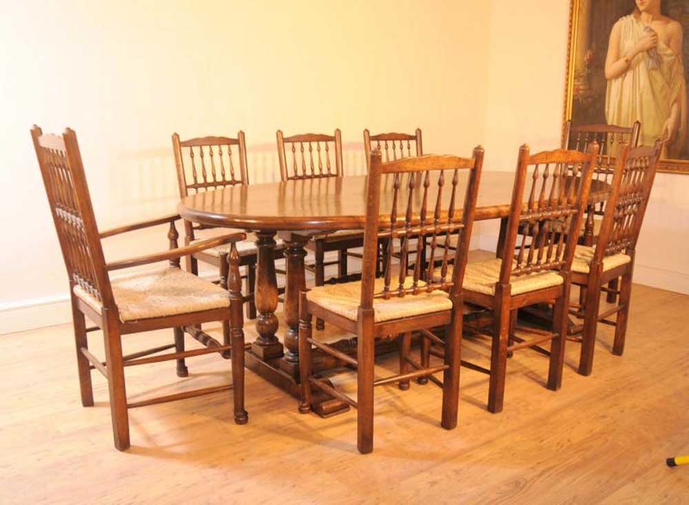 oak kitchen refectory table dining set spindleback chairs
