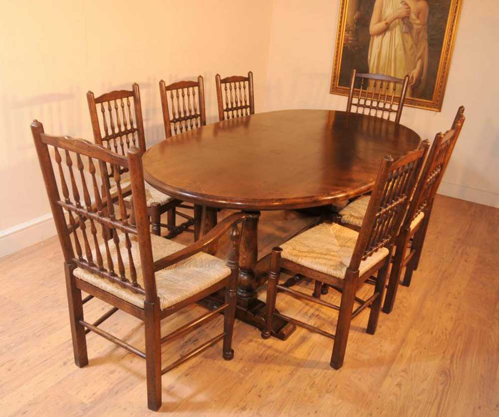 Oak Kitchen Chairs: Oak Kitchen Refectory Table Dining Set Spindleback Chairs