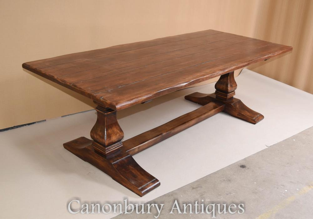Oak Refectory Farmhouse Trestle Table Kitchen Rustic Diner