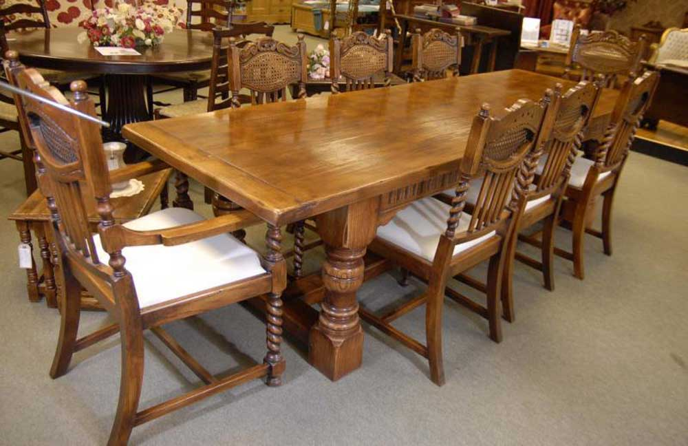 Exceptionnel Oak Refectory Table Set William Mary Farmhouse Chairs Kitchen | EBay