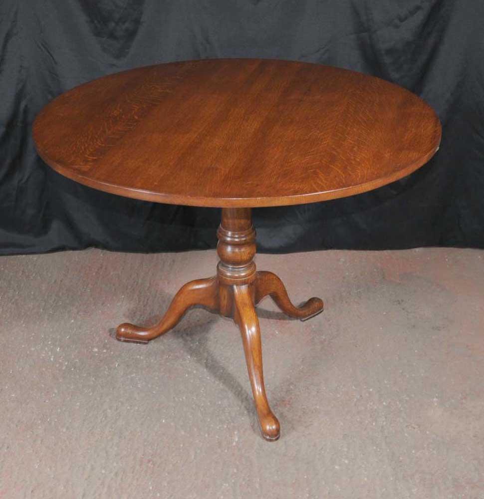 Oak Round Dining Table Tilt Top Farmhouse