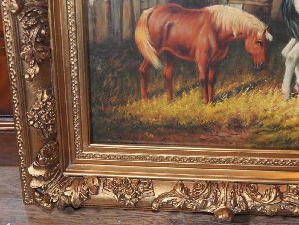 Oil Painting Horses English Victorian Art Gilt Frame