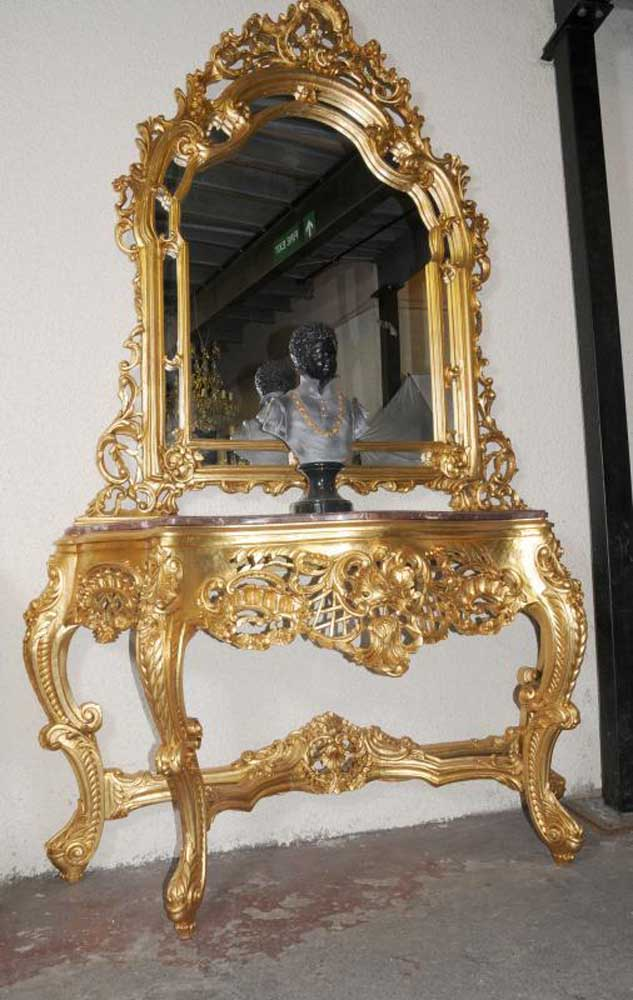 Ornate French Rococo Console Table Mirror Set