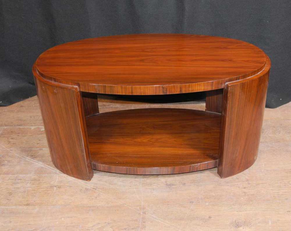 oval art deco rosewood coffee table cocktail tables. Black Bedroom Furniture Sets. Home Design Ideas