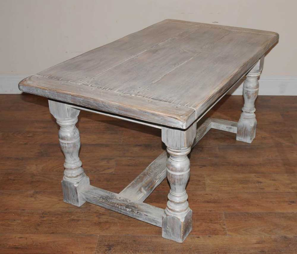 Oak Kitchen Table: Painted Oak Rustic Kitchen Refectory Table Dining