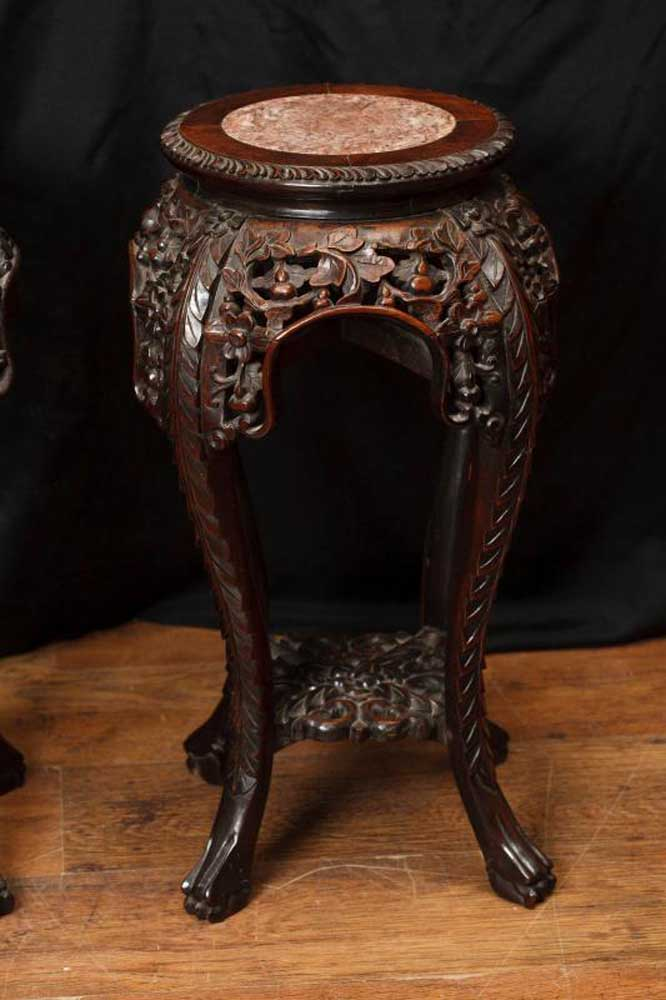 Pair Antique Carved Chinese Pedestal Side Tables Supports 1880
