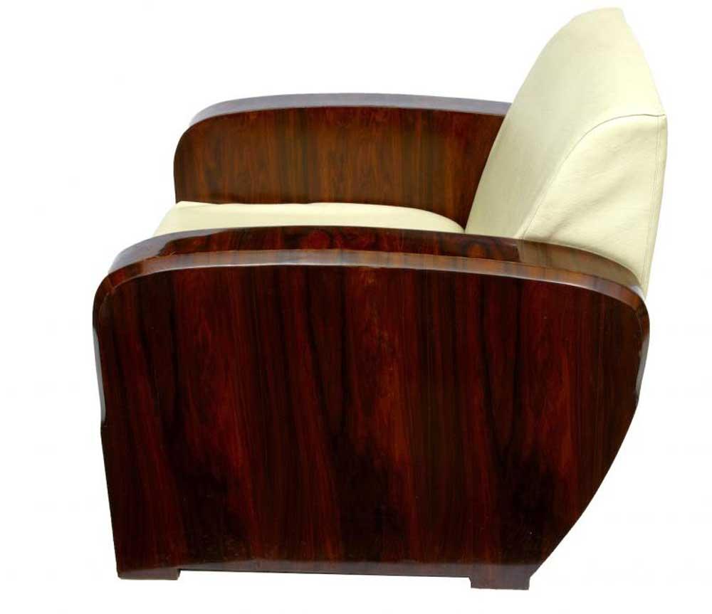 Pair Art Deco 1920s Club Arm Chairs Sofa Seats Armchair