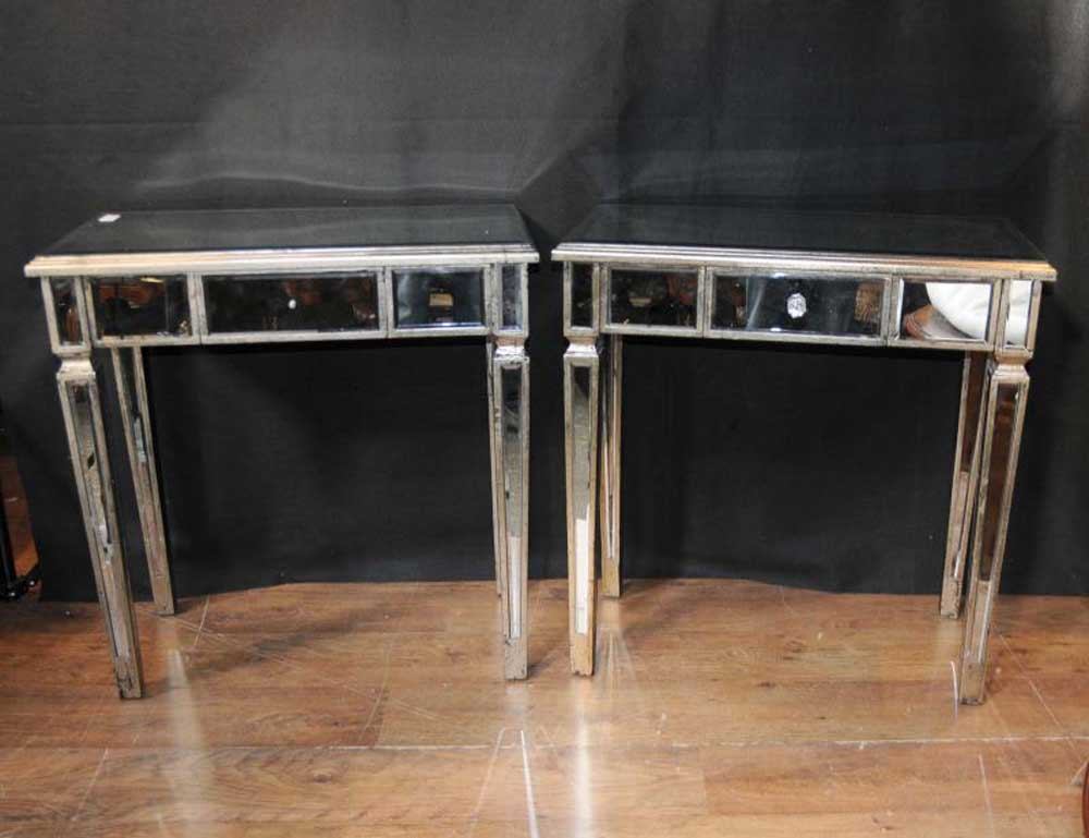 Pair art deco mirror side tables mirrored occasional table for Mirror table