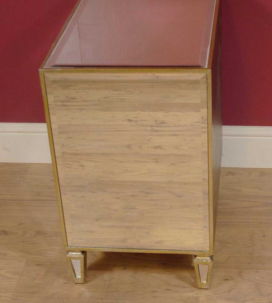 Pair art deco mirrored bedside cabinets chests tables for Mirror bedside cabinets