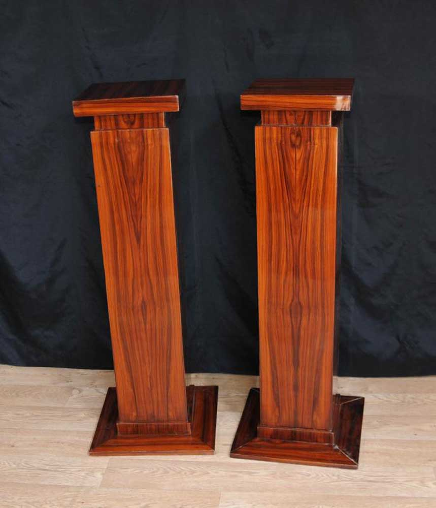 Pair Art Deco Pedestal Column Tables Table 1920s Furniture