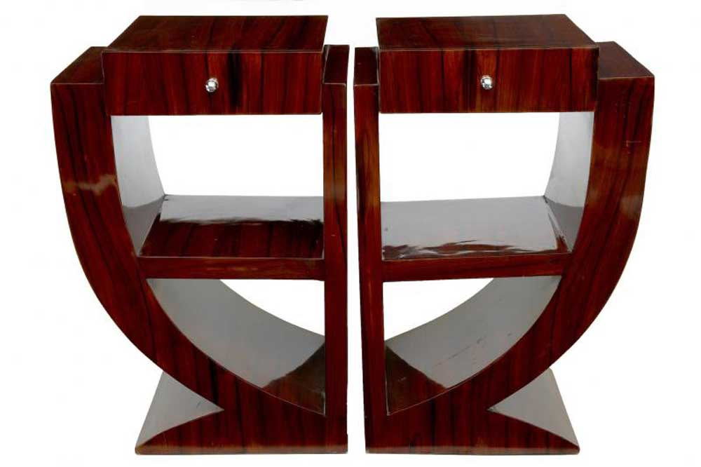 Pair art deco rosewood nightstands bedside tables furniture - Table de nuit art deco ...