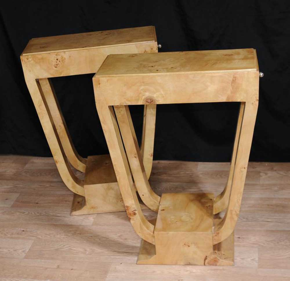 Pair Art Deco Side Table Nightstands Bedside Tables