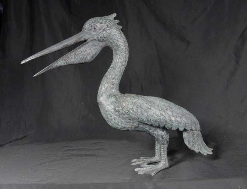 Pair Bronze Pelican Birds Garden Statues Bird