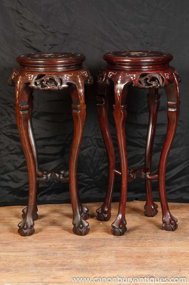 Pair Chinese Chippendale Side Pedestal Table Stands Mother