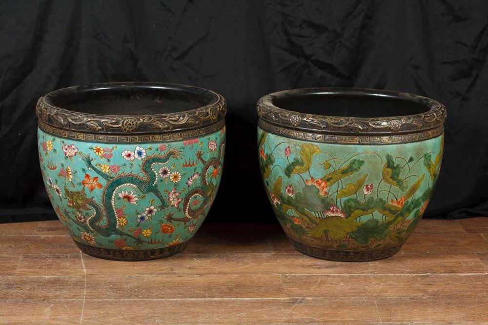 Pair Chinese Daoguang Pottery Dragon Bowls Planters