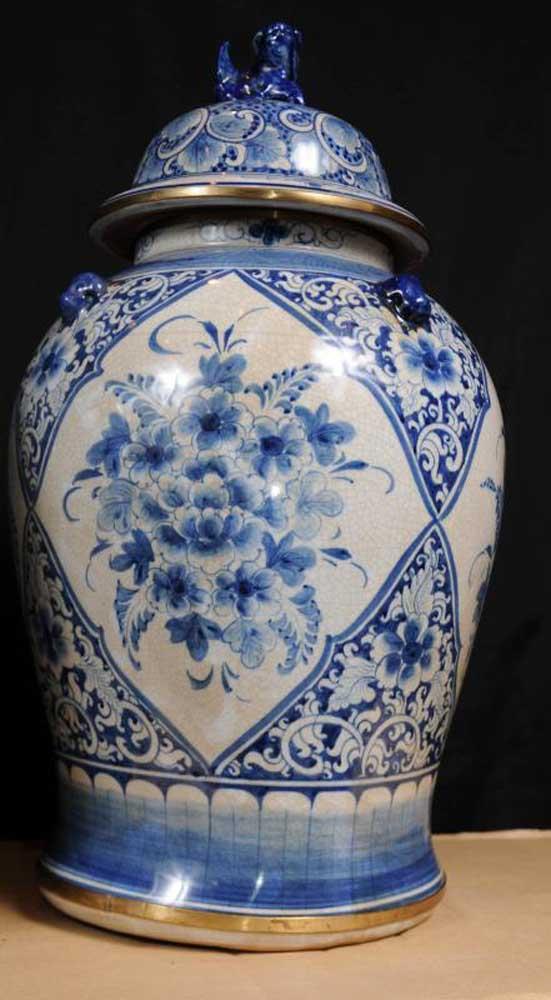 Pair Chinese Kangxi Porcelain Blue White Ginger Urns Vases