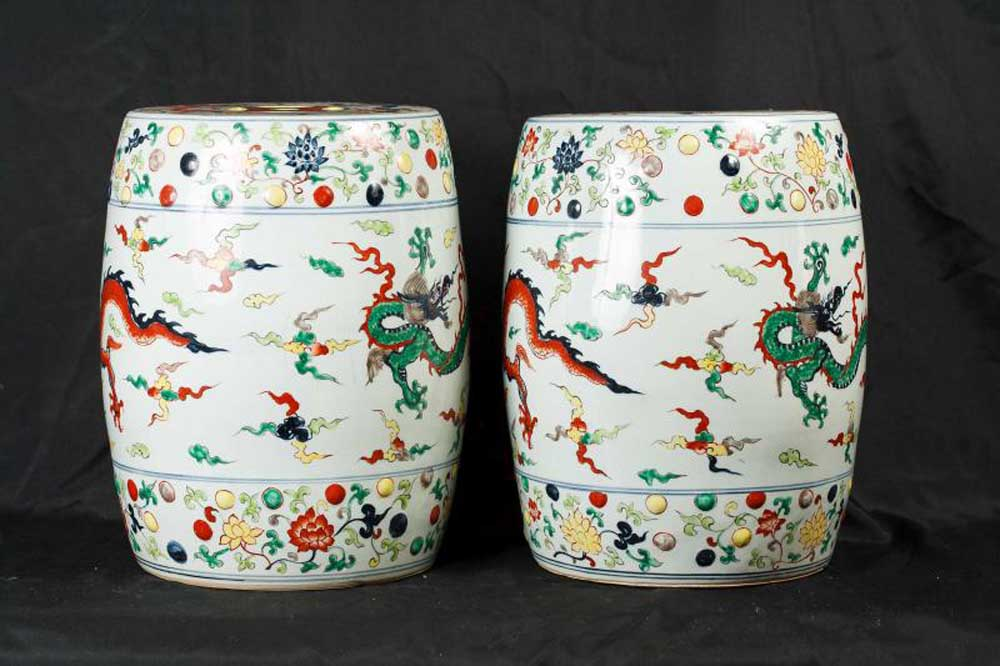 Pair Chinese Qing Porcelain Stools Dragon Seats
