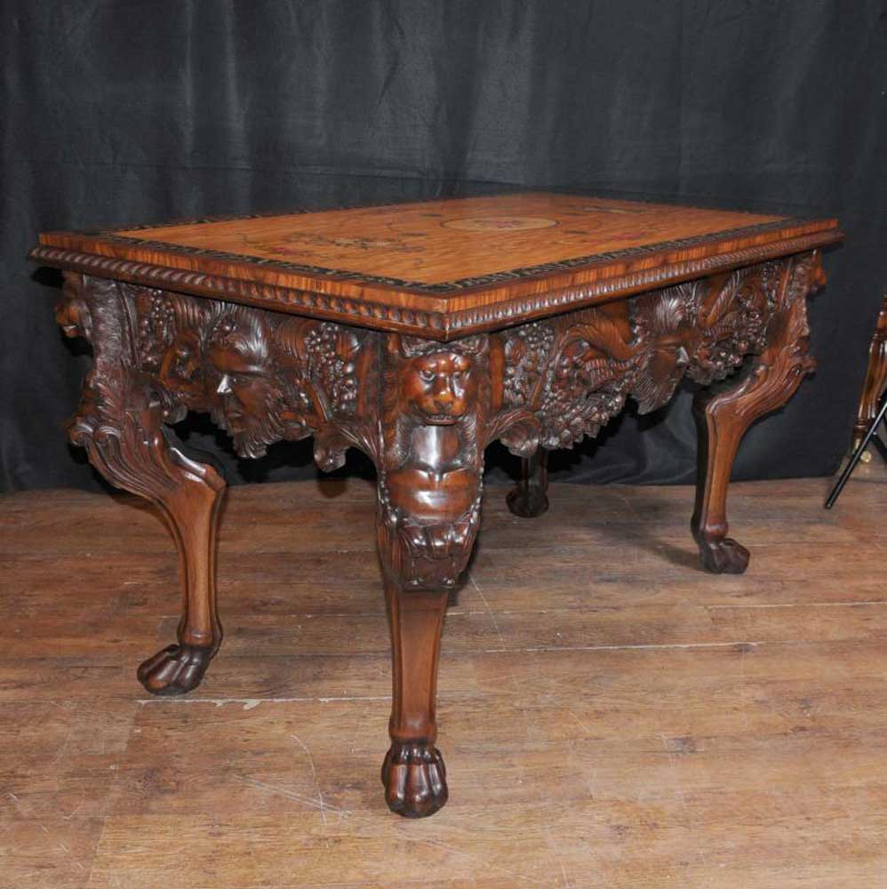 Pair chippendale console tables painted tops hall table carved ebay additional images geotapseo Gallery