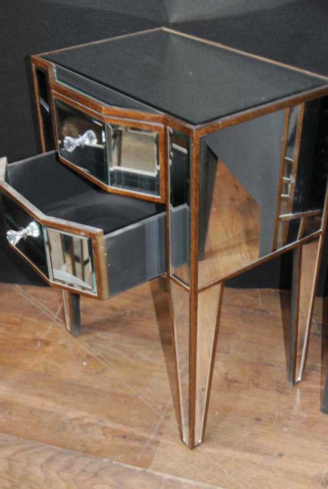 Mirror And Painted Bedside Table: Pair Deco Mirror Nightstands Bedside Tables Chests