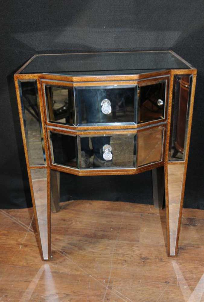 Pair Deco Mirror Nightstands Bedside Tables Chests Cabinets Mirrored