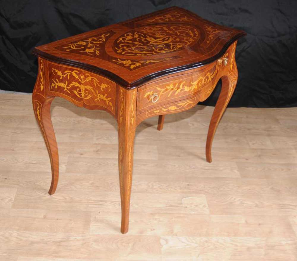 Pair Dutch Marquetry Side Table Commode Hall Tables