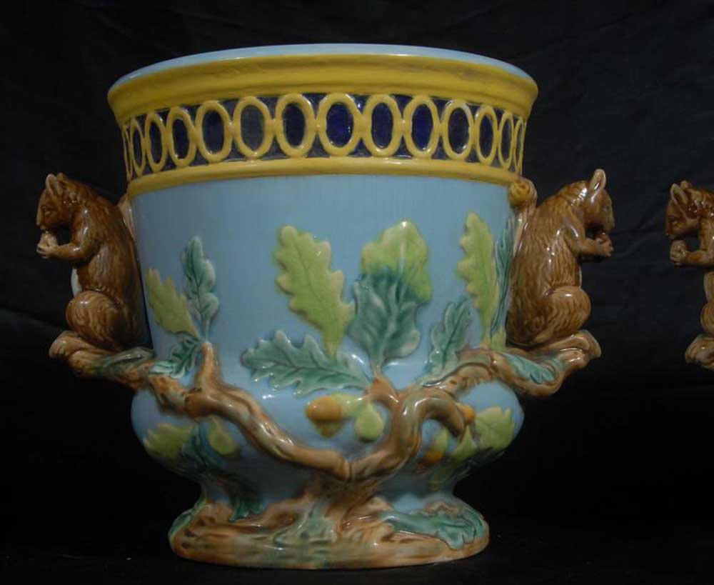 Pair English Majolica Pottery Squirrel Pots Planters Minton