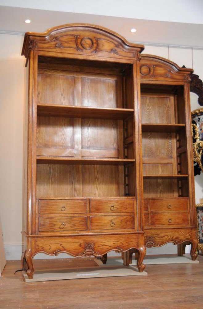 Pair English Oak Farmhouse Bookcases Cabinet