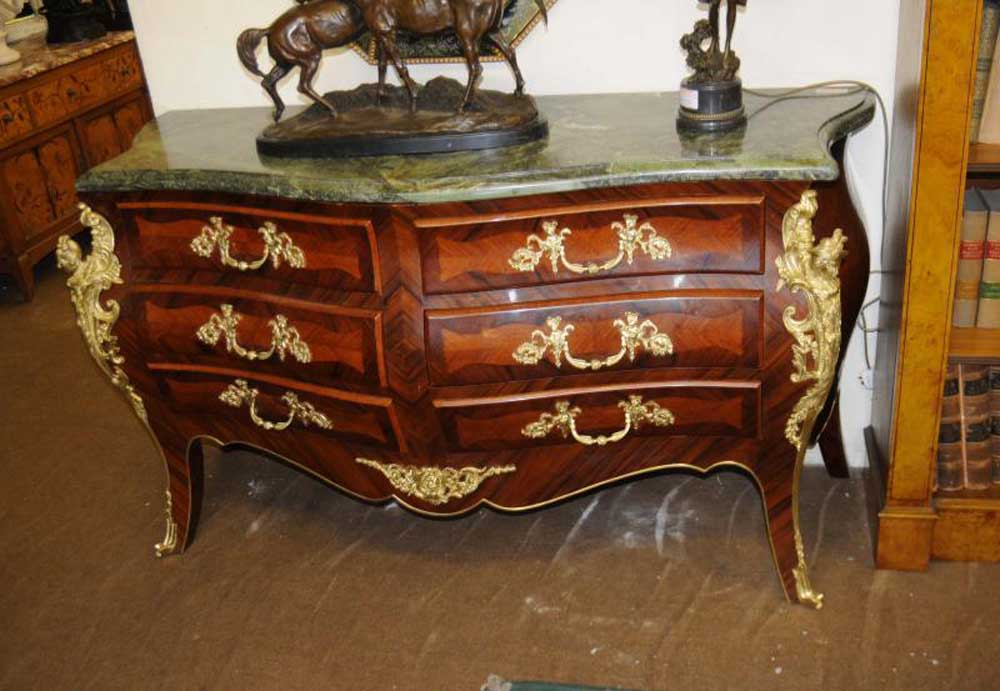 Pair French Bombe Commodes Chest Drawers Empire Furniture