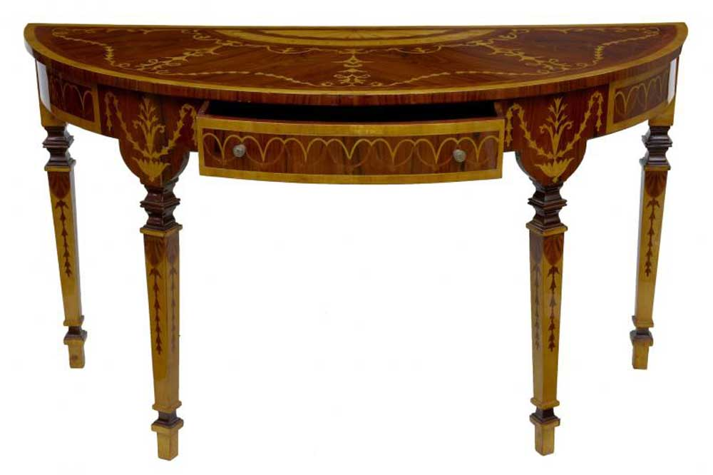 pair french empire inlay console hall tables demi lune table. Black Bedroom Furniture Sets. Home Design Ideas