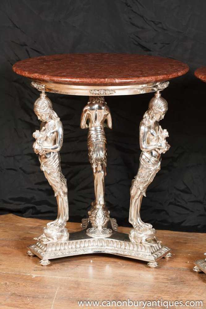 Pair French Empire Silver Plate Side Tables Marble Top