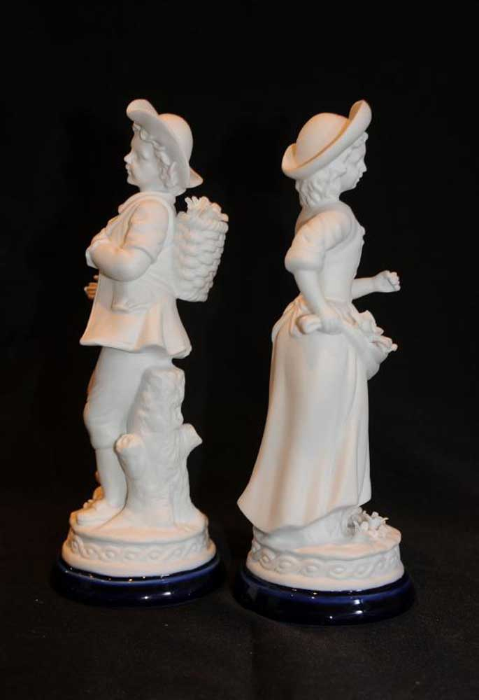 Pair French Porcelain Figurines Bisque