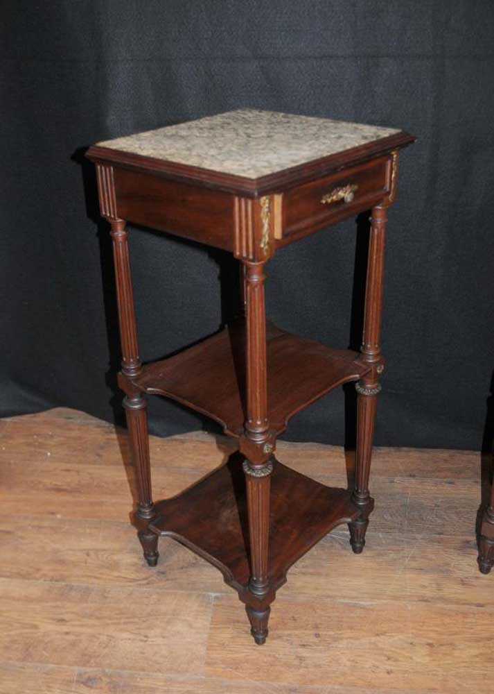 Pair French Regency Antique Side Tables Pedestal Table