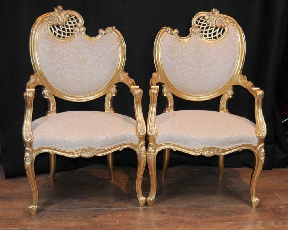 Pair french rococo louis xv arm chairs armchair fauteil gilt for Furniture in french