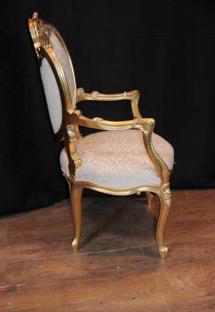 Pair French Rococo Louis Xv Arm Chairs Armchair Fauteil Gilt