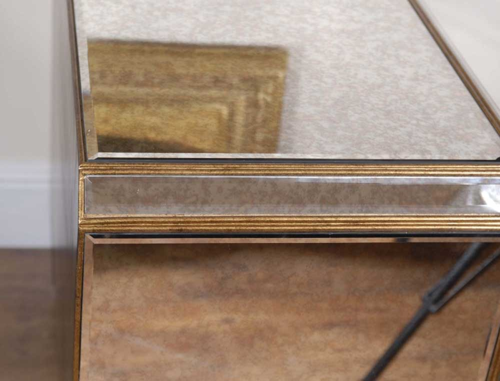 Pair Funky Art Deco Mirrored Bedside Chest Drawers Tables