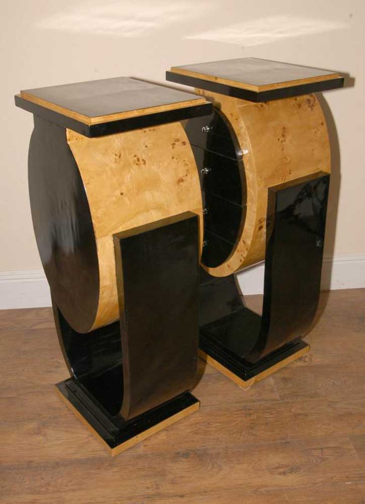 pair funky deco bedside cabinets table chests retro