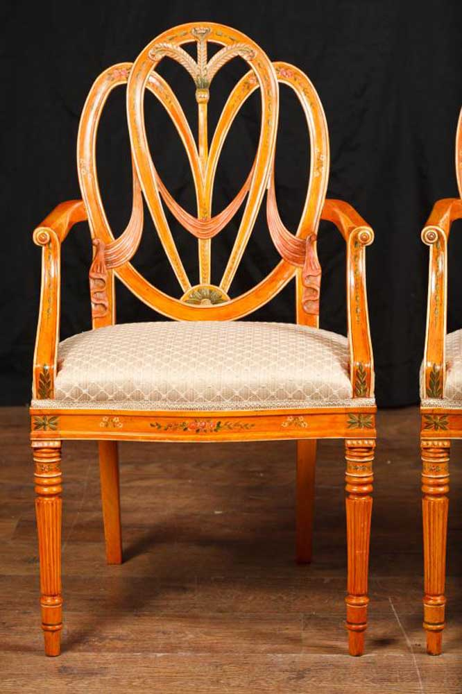 Pair Hepplewhite Arm Chairs Dining Chair Furniture Regency