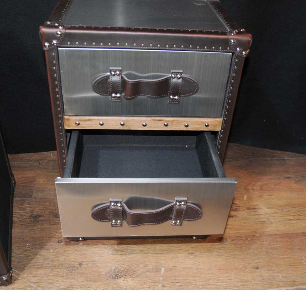 Pair Industrial Nightstands Bedside Chests Tables Cabinets