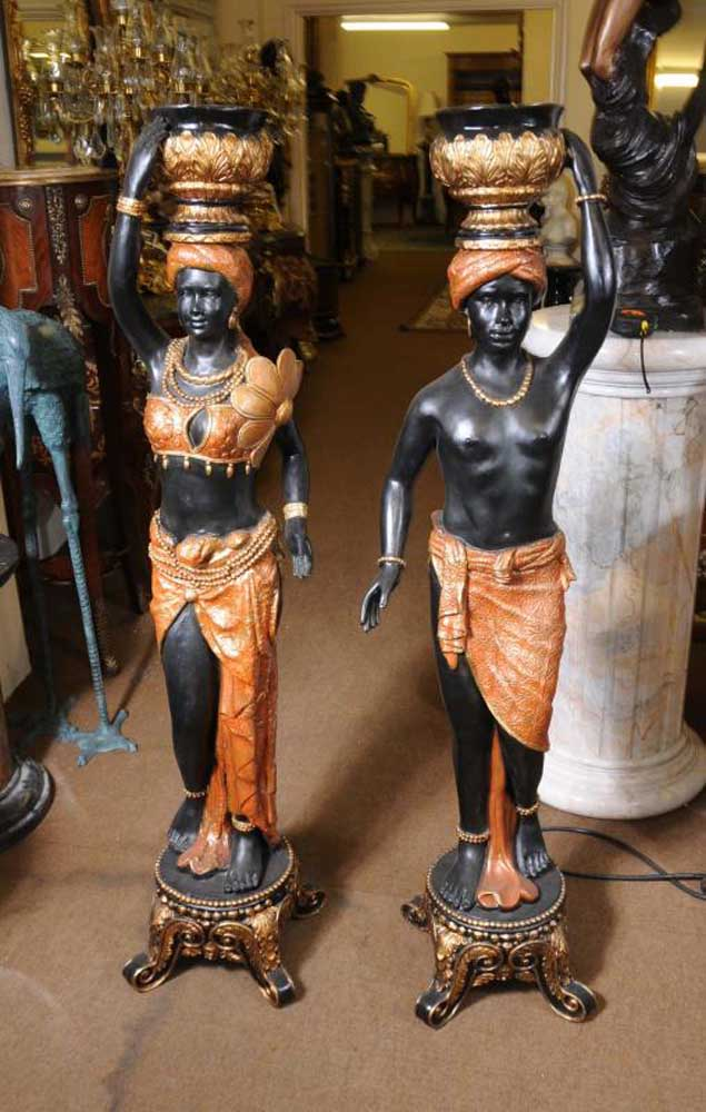 Pair Italian Blackamoor Torcheres Statues Moors