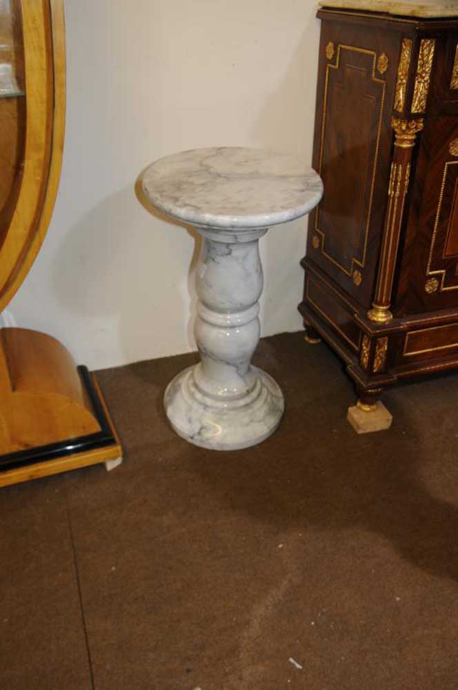 Pair Italian Marble Pedestal Column Tables Supports