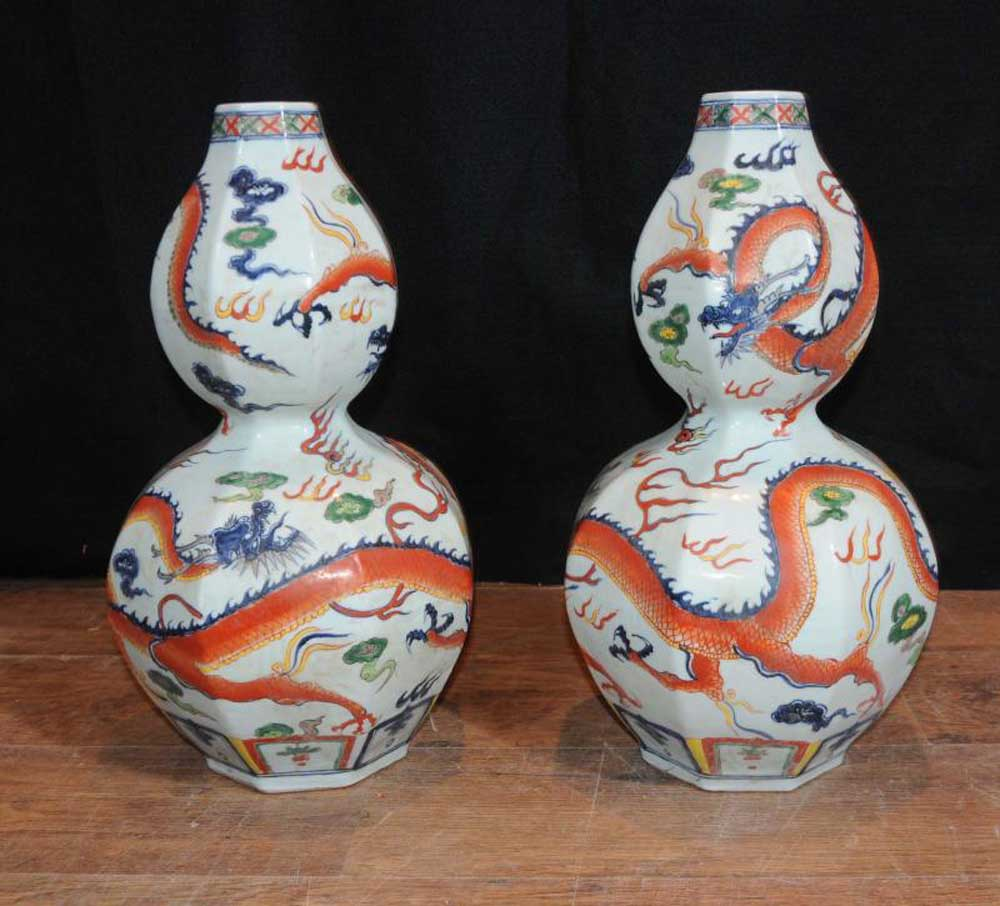 Pair Japanese Arita Porcelain Vases Hand Painted Pottery